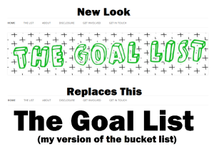 Logo change for The Goal List bucket list blog. New image by Carla Grace