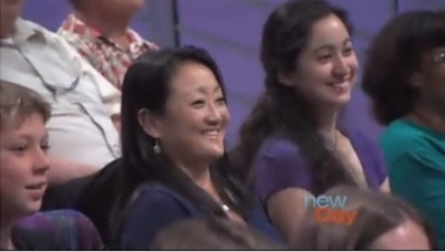 My mom and I in the New Day Northwest live studio audience. Photo is a screen shot from a New Day Northwest video filmed 7/28/12
