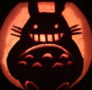 My Totoro pumpkin carving from Halloween 2014 modified from a free template from Fantasy Pumpkins (http://fantasypumpkins.com/free-patterns.htm)