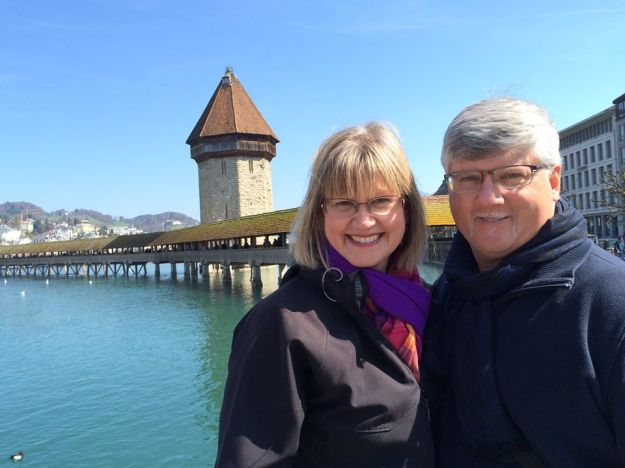 Janet with her husband, Dave, at Kapellbrücke in Switzerland - Photo provided by Janet Kronbach and used with permission